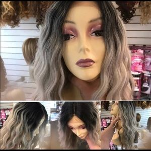 Long grey ombré wig Swisslace Lacefront 2020 Wig